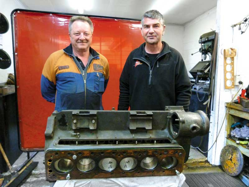 Engineer_Keith_McCab_and_Ian_Walters_with_a_Sunbeam_engine